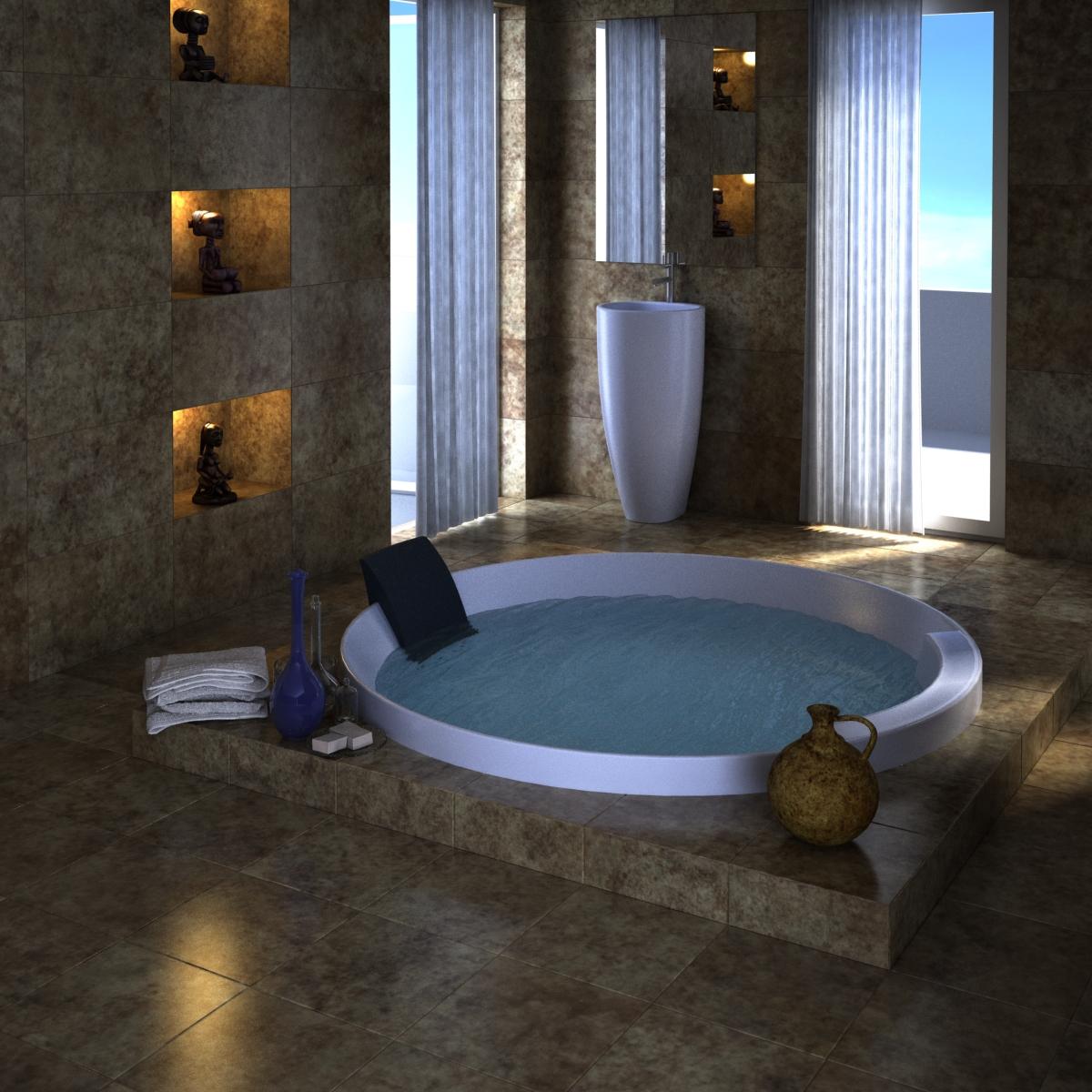 رندر سه بعدی فضای داخلی حمام