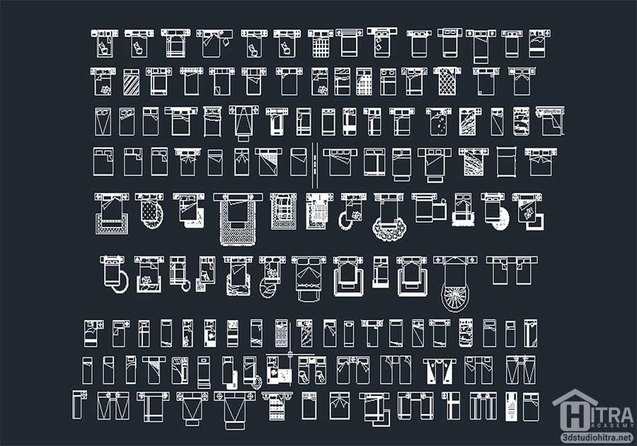 دانلود بیش از 100 مدل تخت با فرمت دو بعدی اتوکد [dwg]