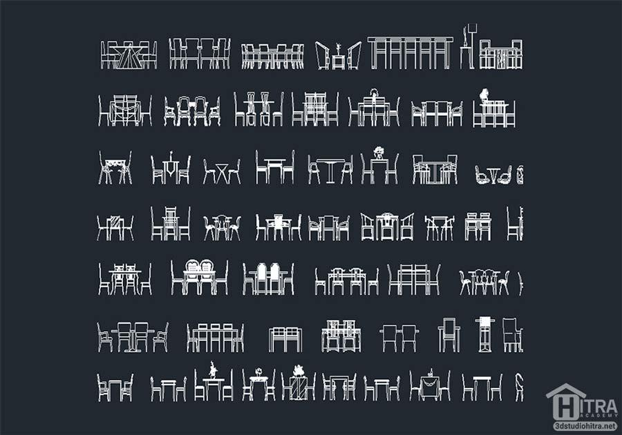 دانلود آبجکت انواع میز و صندلی با فرمت دو بعدی اتوکد [dwg]