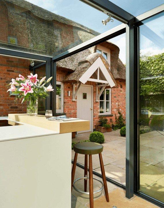 دیوار های شیشه ای برای ساخت و ساز در طراحی آشپزخانه