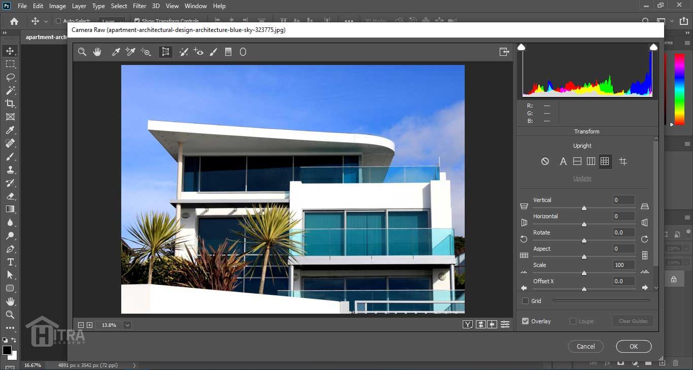 ابزار Transform در Camera Raw Filter