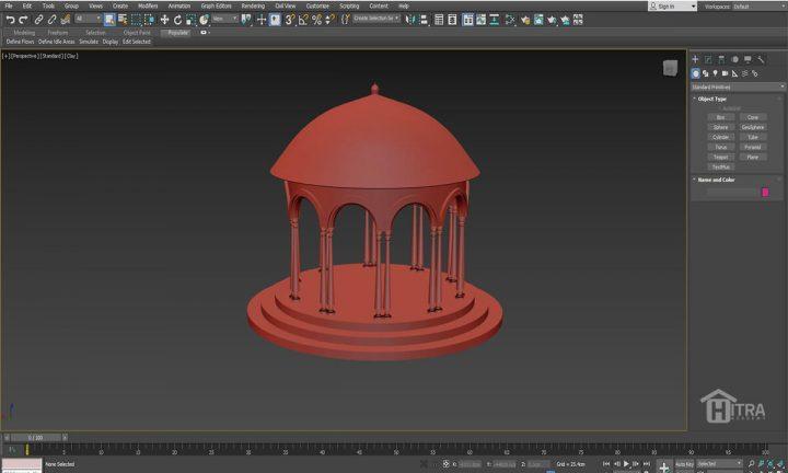 مدلسازی سقف گنبدی در تری دی مکس