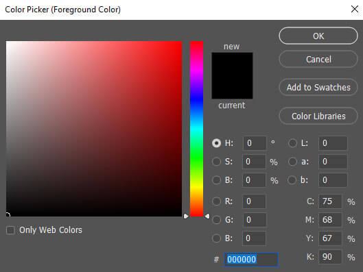 پنجره Color Picker در حالت Adobe