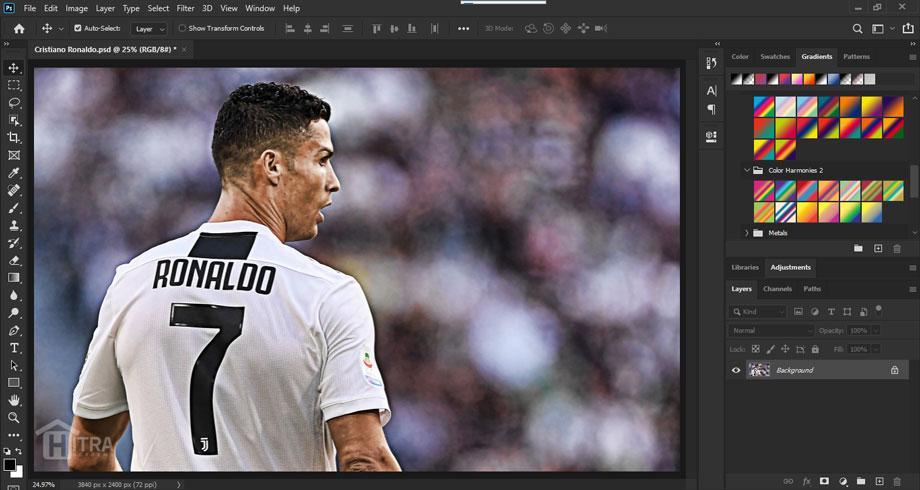 از تصویر کریستیانو رونالدو جهت آموزش افکت دورنگی (Duotone) استفاده می کنیم