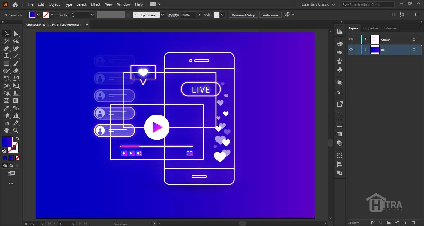 نحوه ی کار با مسیر های رسم شده توسط Stroke و تنظیمات آن
