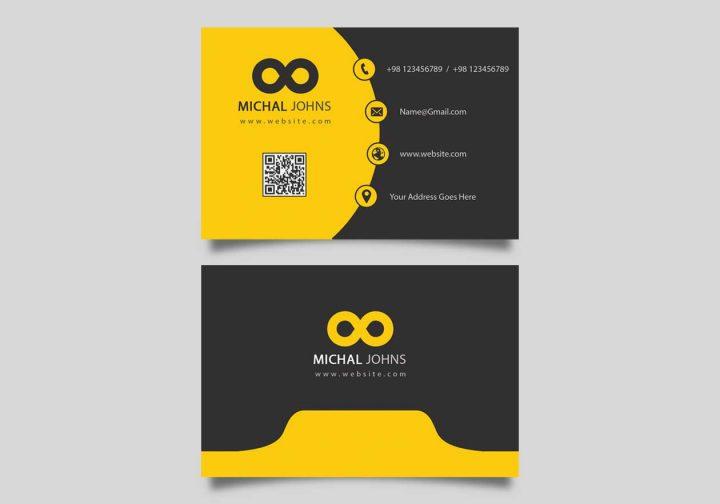 آموزش کارت ویزیت شرکتی زرد و خاکستری