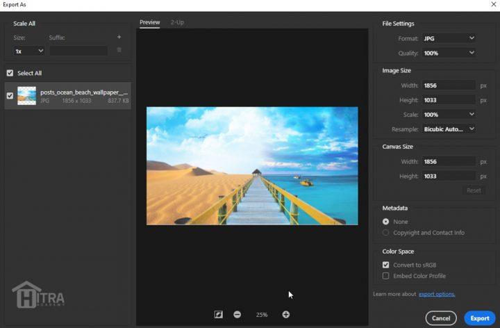 ذخیره تصویر از طریق Export as