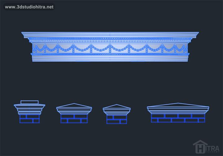 دانلود آبجکت ستون های کلاسیک - سر در های ورودی کلاسیک به همراه جزئیات اجرایی