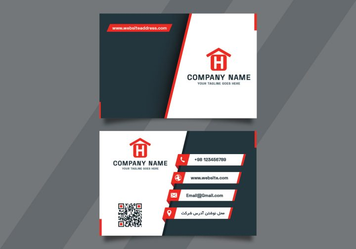 آموزش طراحی کارت ویزیت شرکتی قرمز و سفید
