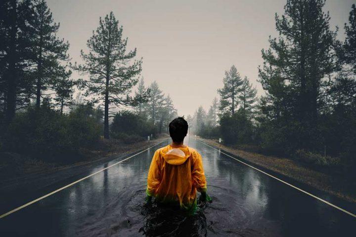 آموزش ترکیب تصویر موج و جاده جنگلی