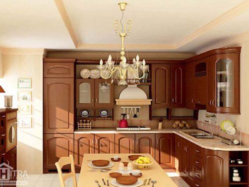 دانلود دو صحنه داخلی آشپزخانه و هال پذیرایی کلاسیک به صورت آماده