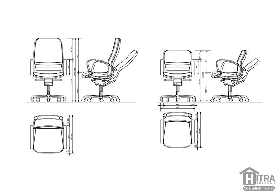 آبجکت دو بعدی صندلی اداری با فرمت دو بعدی اتوکد (DWG)