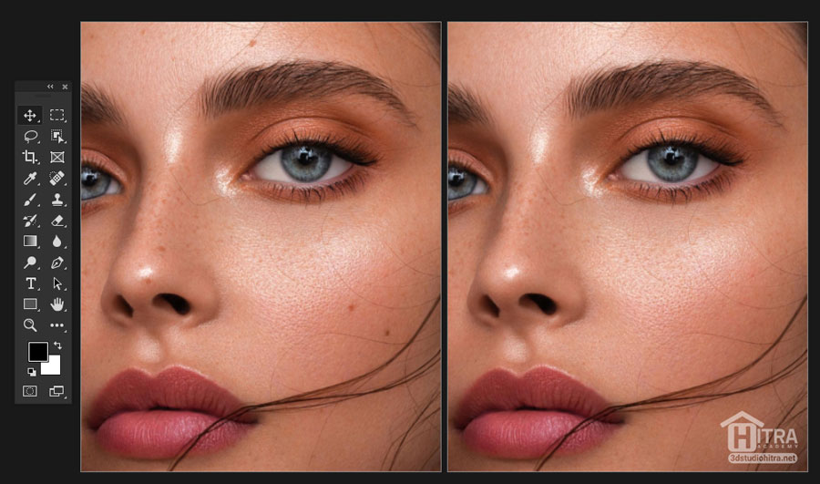 ادیت عکس در فتوشاپ - حذف لکه و خال توسط (Spot Healing Brush)