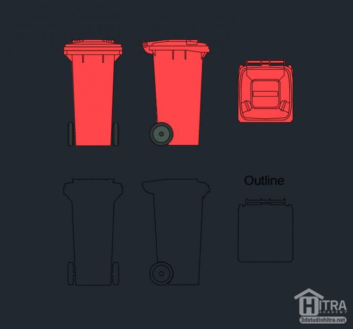 بلوک سطل زباله برای اتوکد