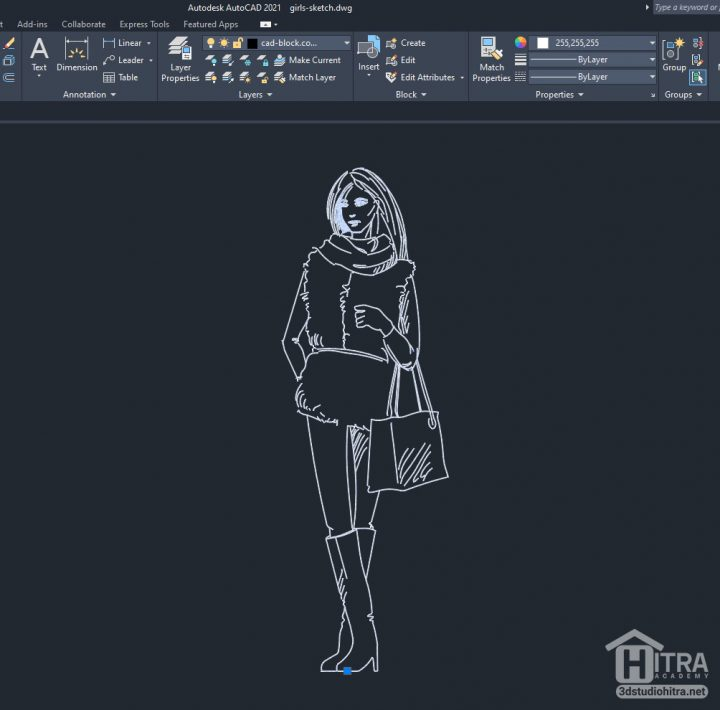 پرسوناژ دو بعدی خانم در CAD