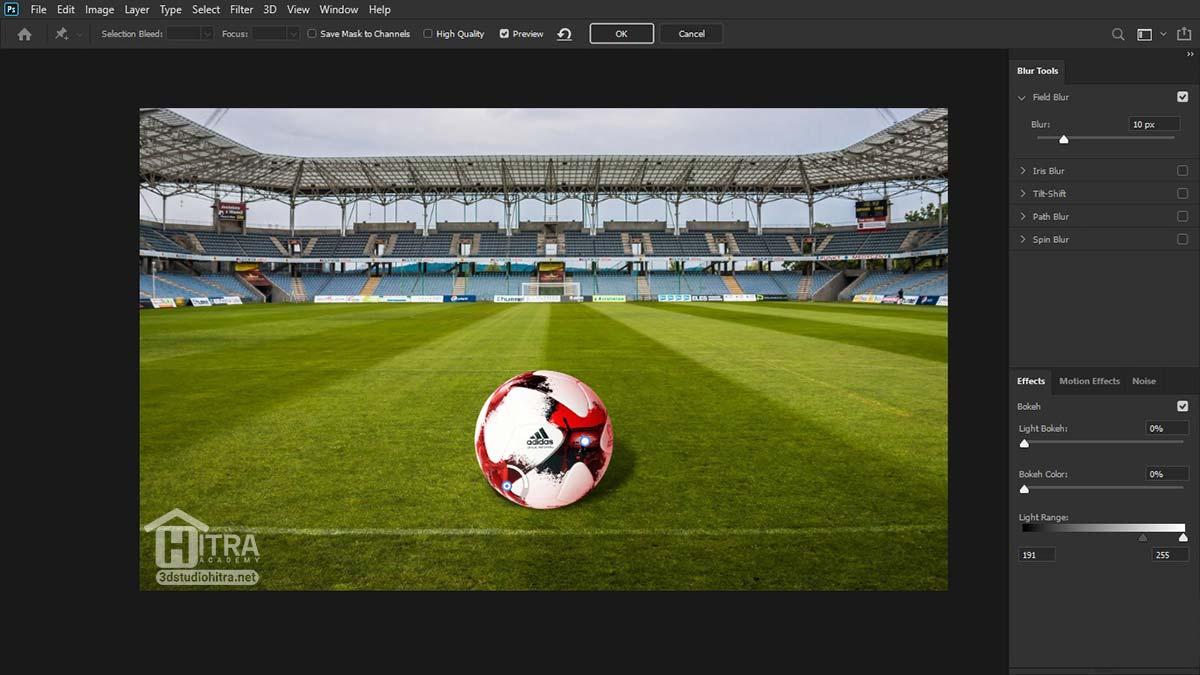 ایجاد سایه سایه توپ روی چمن استادیوم فوتبال در فتوشاپ
