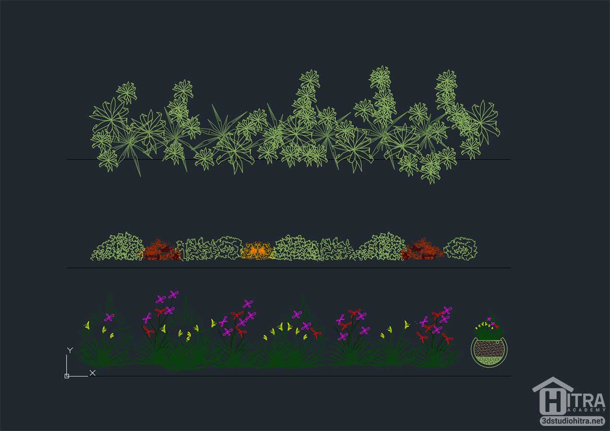 بلوک گل و گیاه اتوکد