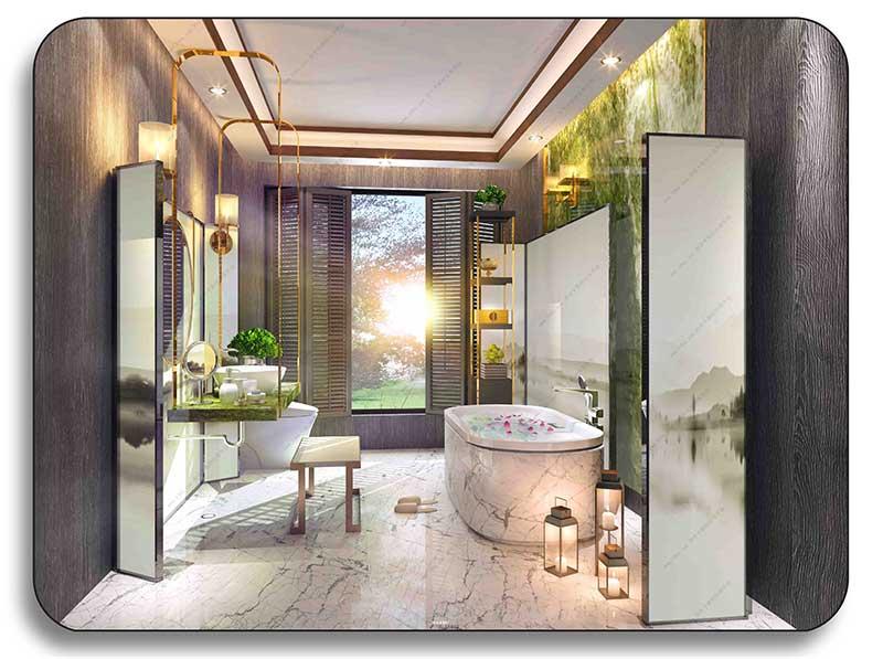 رندر مدل سه بعدی حمام لوکس