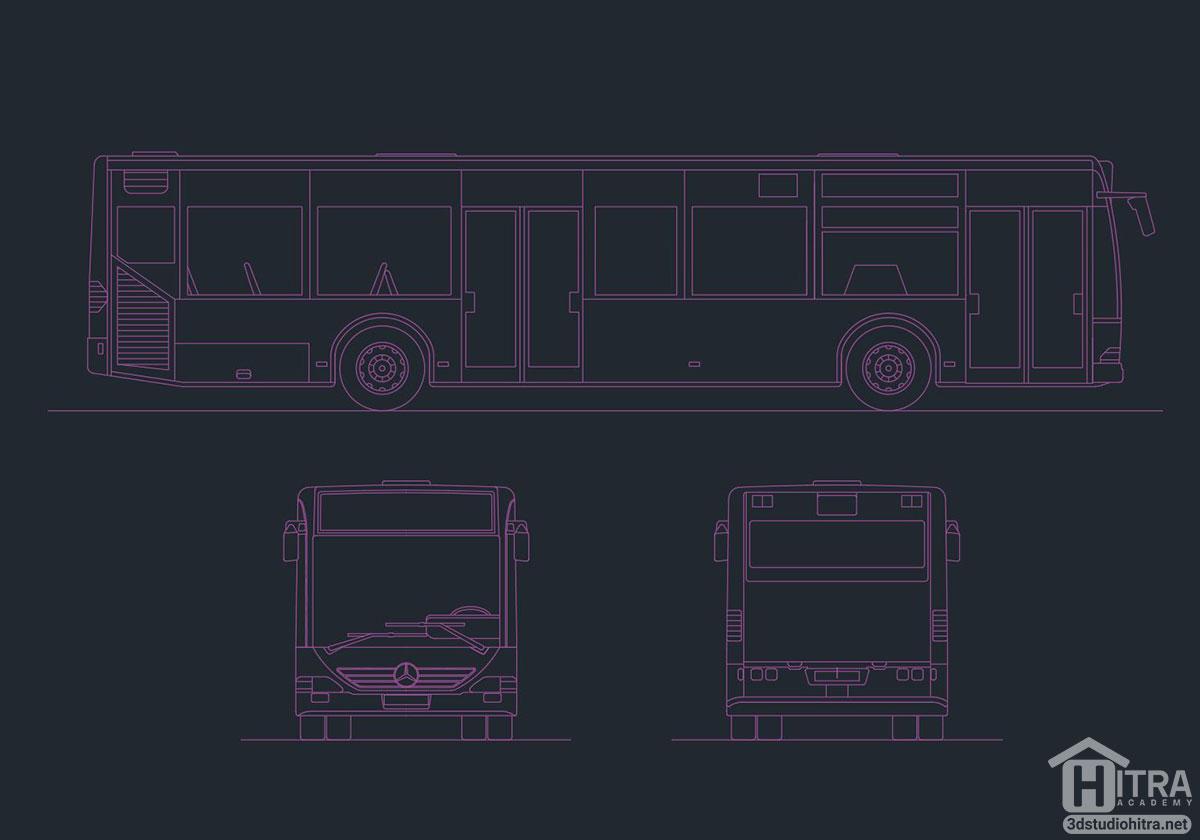 نقشه اتوکد اتوبوس