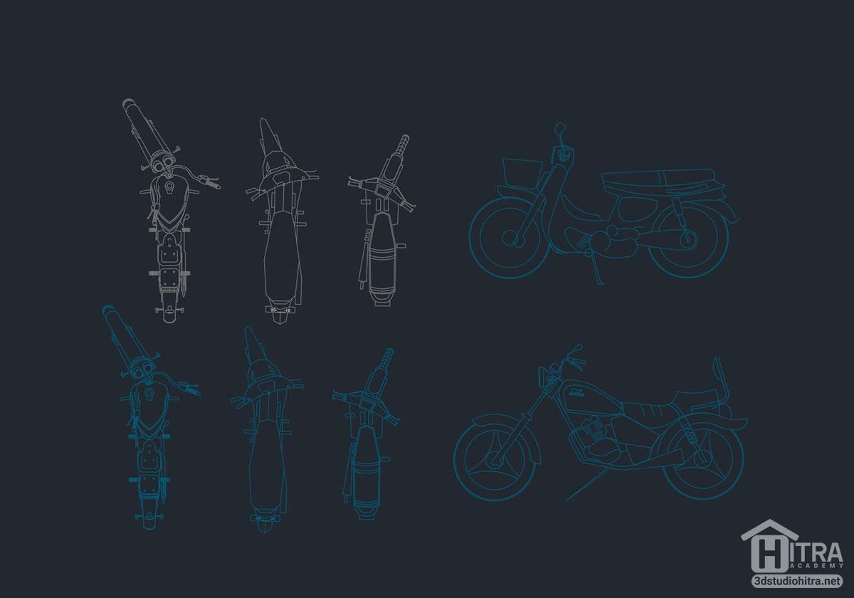 دانلود بلوک موتور سیکلت اتوکد