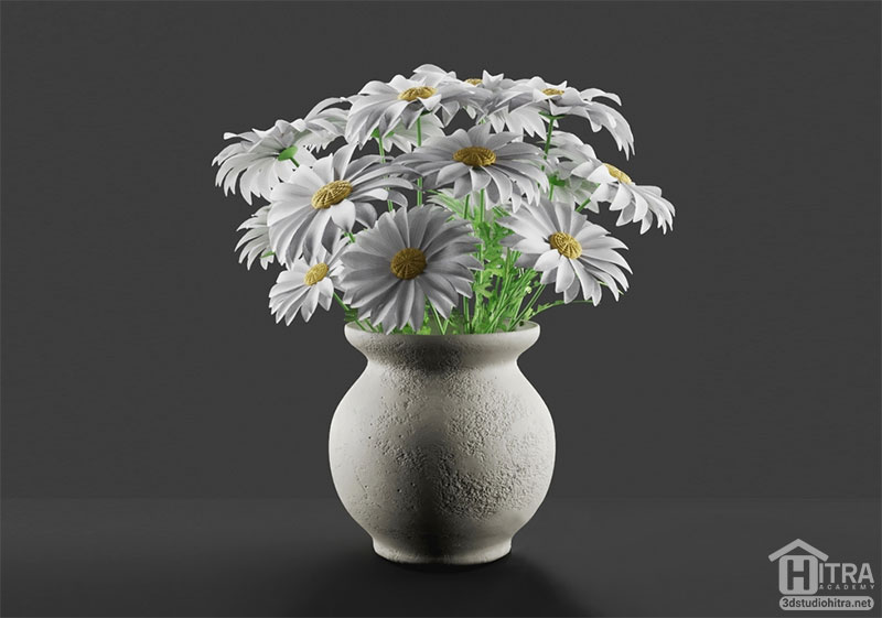 آبجکت گل مروارید همراه با گلدان زیبا