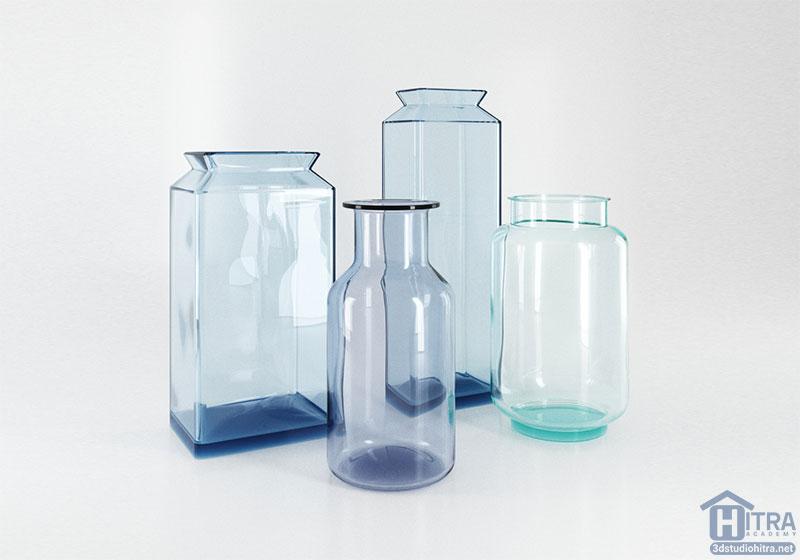 مدل سه بعدی گلدان شیشه ای
