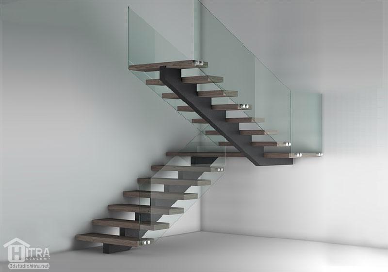 مدل سه بعدی پله مدرن