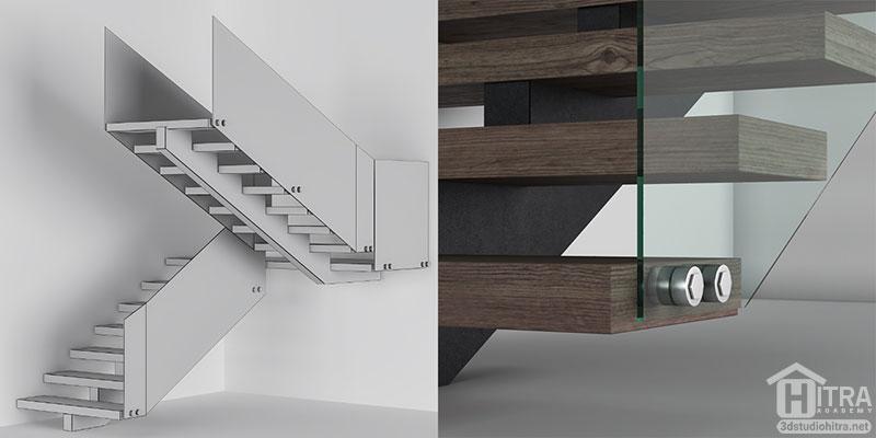 پله مدرن چوبی