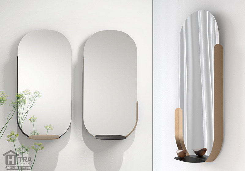 مدل سه بعدی آینه دیواری