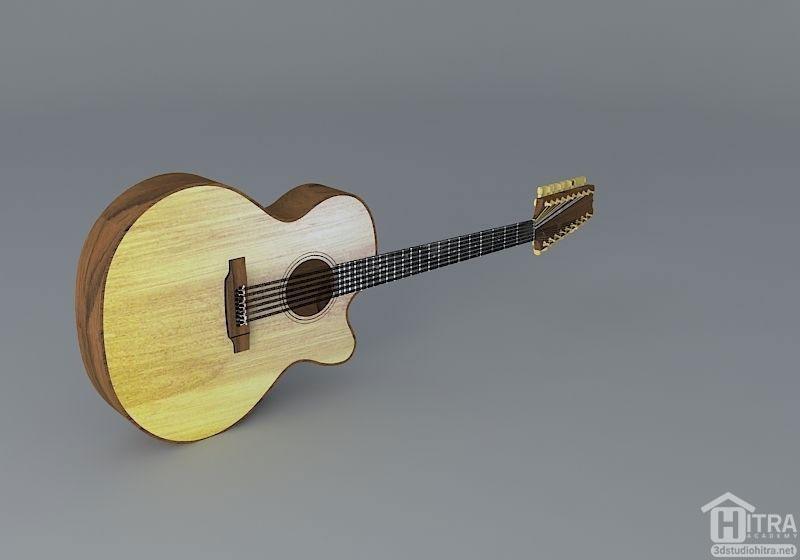 مدل سه بعدی گیتار آکوستیک