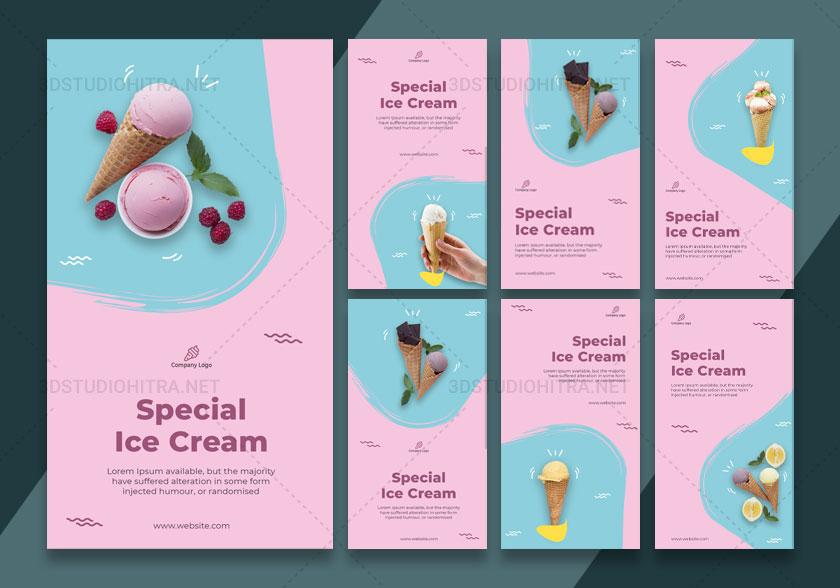 قالب استوری اینستاگرام بستنی فروشی
