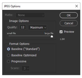 تنظیمات ذخیره کردن عکس با فرمت JPEG