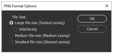 تنظیمات ذخیره کردن عکس با فرمت PNG