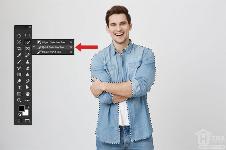 انتخاب پیراهن مدل با ابزار Quick Selection