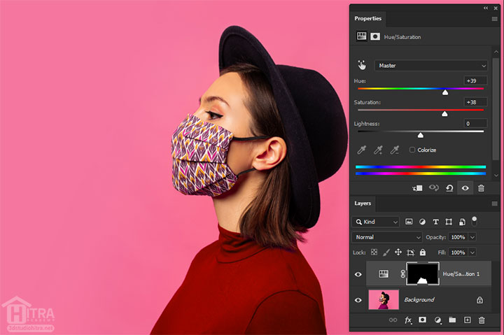 تغییر رنگ لباس با تنظیمات Hue/Saturation در فتوشاپ