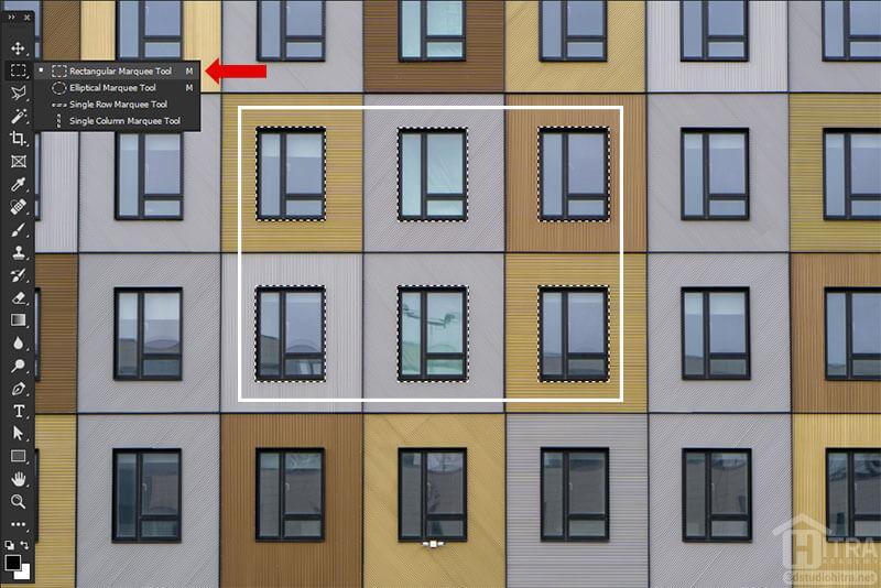 انتخاب پنجره ها با ابزار Rectangular Marquee